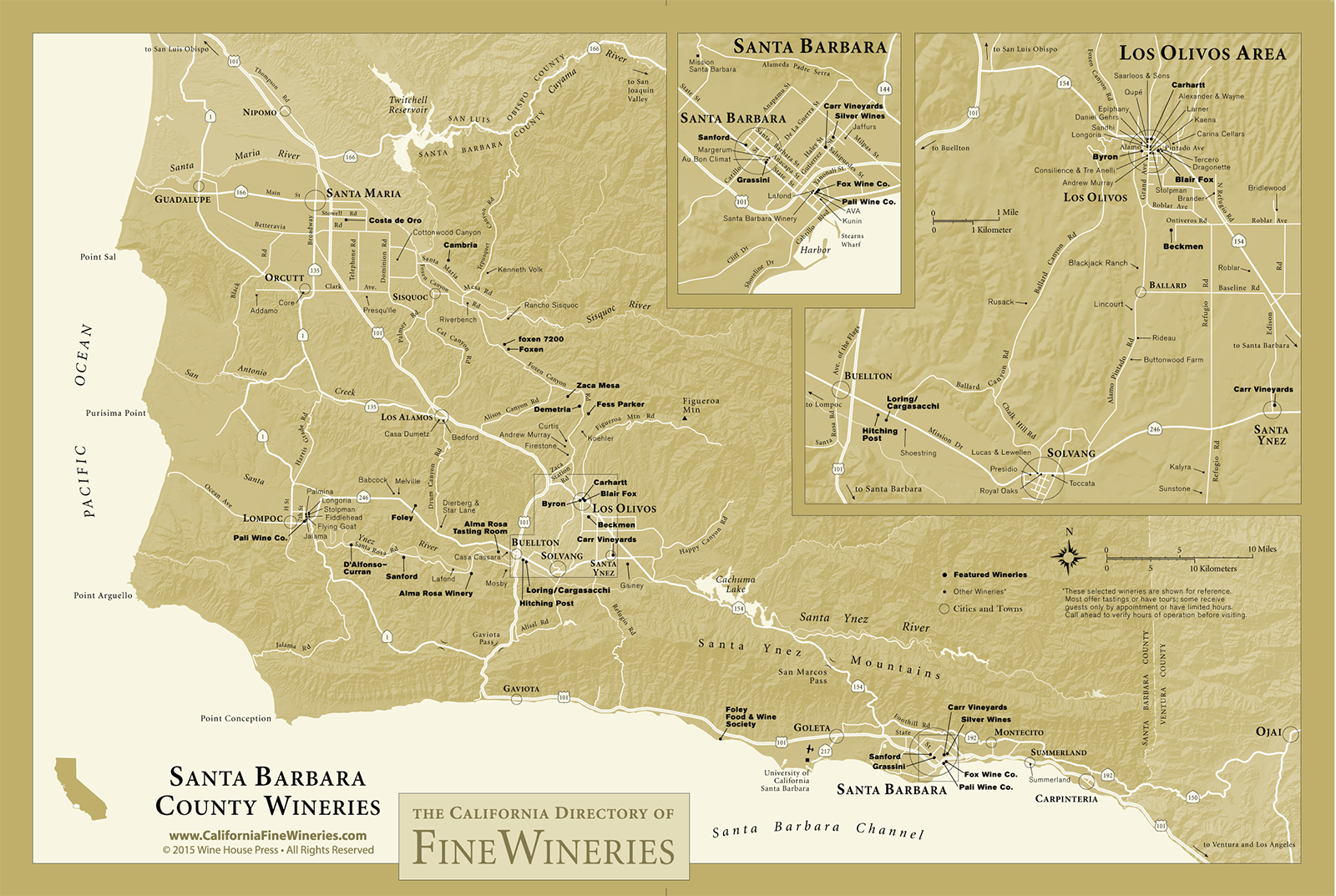 Map of Fine Wineries in Santa Barbara County California