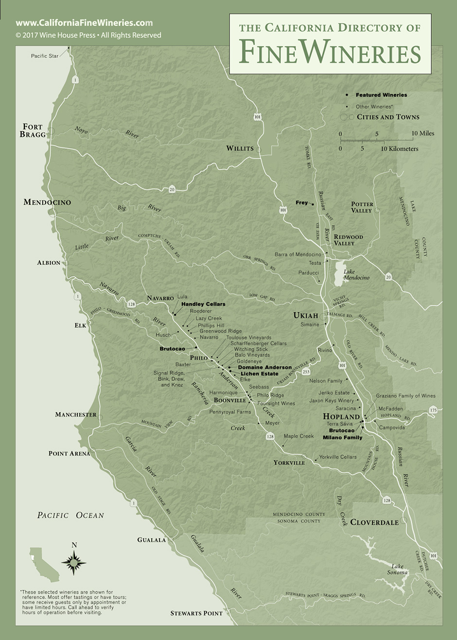 California Diectory Of Fine Wineries Mendocino County Fine Winery Map