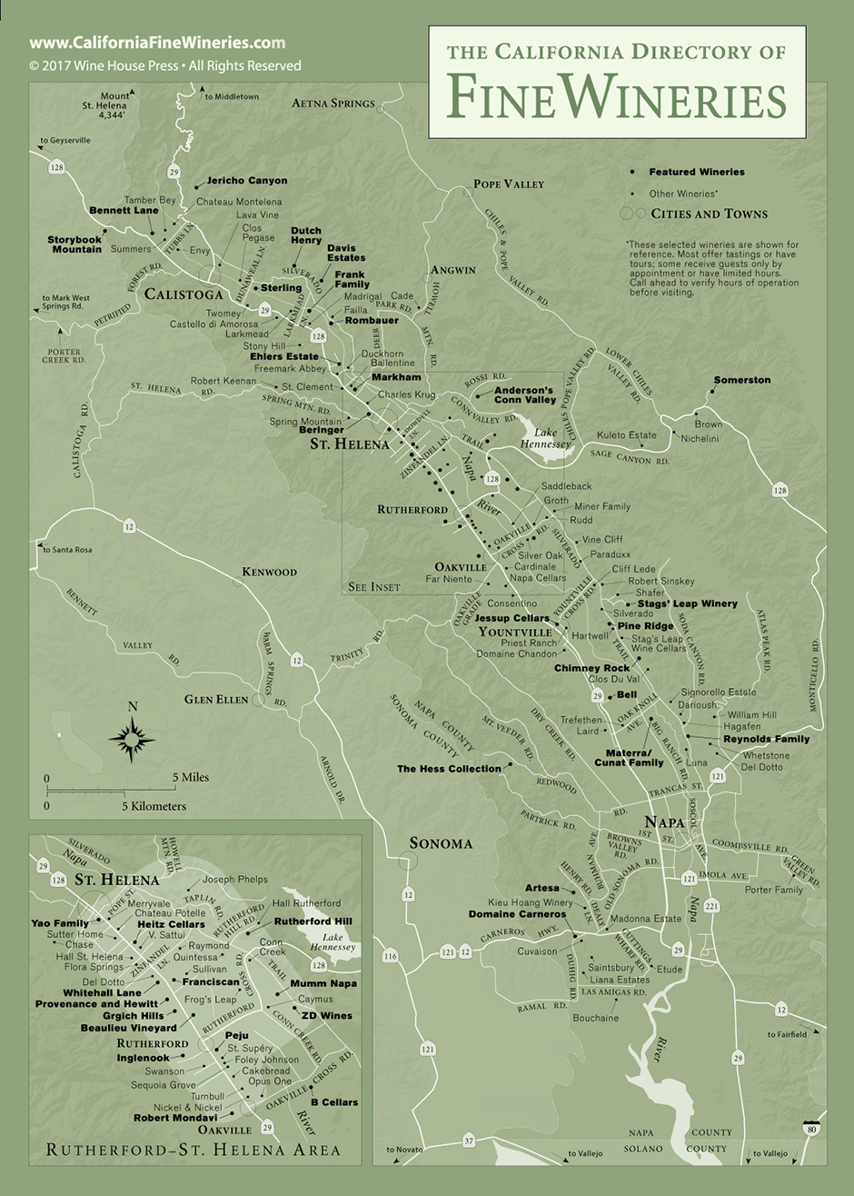 Map Of Napa Valley Wineries Map of Fine Wineries in Napa Valley California